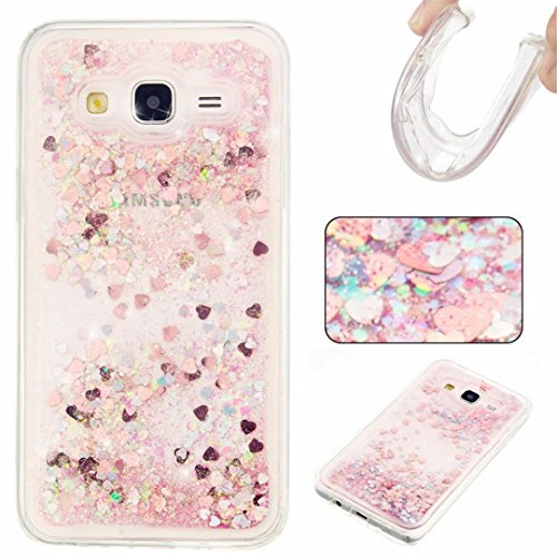 KSHOP Samsung Galaxy J5 2015 Silicone Case 3D Creative Luxury Bling Glitter Liquid Case TPU Silicone Heart Moving Soft TPU Bumper Back Hybrid Shockproof Protection Case Cover scratch shock - Pink