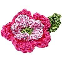 NaiCasy Aufnäher Blume Aufkleber Patch Sticker 10er 5-Blatt Leaf 2-Layer Handmade Henna Applikationen notwendig Craft - Pink Pink und Grün