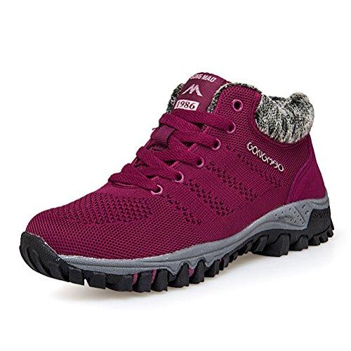 Super Lee Damen Wander Sneaker Warme Gefüttert Winter Boots Winterschuhe Outdoor Sport Schuhe, Rot, 37 EU