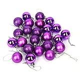 Pack de 2 (48pcs) Decoración del árbol de navidad gotas de bolas artificiales adornos colgantes adornos colgantes para interiores al aire libre del árbol de navidad fiesta decoración(Púrpura)