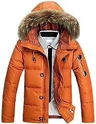SODIAL(R) Hommes Survetement Col en Fourrure Capuche Parka Hiver Epais Manteau Duvet de Canard Doudoune Outwear Orange L