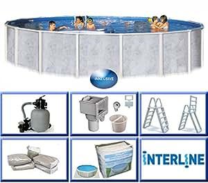 interline 55000052 diana auf und erdeinbau stahlwandpool 5 50m x 1 32m mit sandfilter set 6 0m. Black Bedroom Furniture Sets. Home Design Ideas