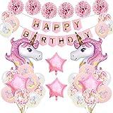 SPECOOL Unicornio Decoración de cumpleaños para niña, Rosa Fel