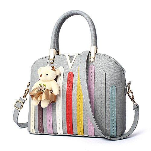 LDMB Damen-handtaschen Frauen PU-lederne große Kapazitäts-Normallack-Schulter-Beutel-Kurier-Handtaschen-justierbare einfache wilde Einkaufstasche light gray