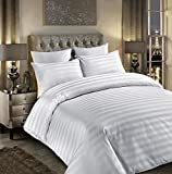 Sunshine Comforts® 100% Egyptian Cotton 500 Thread Count Satin Stripe Beautiful Duvet Cover Sets All Sizes (King, Striped White)