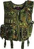 normani SWAT Einsatzweste mit integriertem Pistolenholster und vielen Taschen für Magazine, Munition und Zubehör Farbe Flecktarn Größe M/L