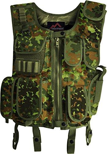 Taktische SWAT Weste mit Pistolenholster und abnehmbarem Schriftzug auf dem Rücken [XS-4XL] Farbe Flecktarn Größe M/L