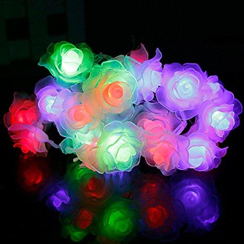 (Woopower Lichterkette mit Rosenblumen, Verschiedene Modi, 3 m, 20 LEDs, Lichterkette für Valentinstag, Party, Hochzeit, Weihnachten, Heimdekoration bunt)