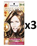 Schwarzkopf - Country Colors Haare Färbemittel Farbe 49 Cognac Warm Braun X 3 Packungen