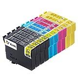 K-Tinte kompatible Tintenpatronen für Epson 18 XL - T1811 T1812 T1813 T1814 (10er-Packung - 4 Black, 2 Cyan, 2 Magenta, 2 Gelb)