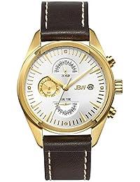 JBW J6300D - Reloj de cuarzo para hombre, correa de cuero color marrón