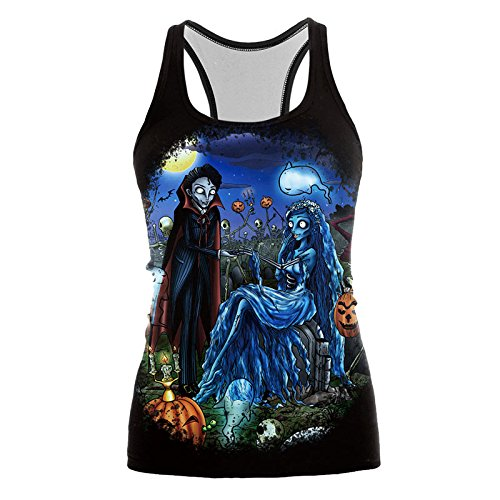 r Frauen Halloween Corpse Bride Blusa Jack-o'-Lantern Pirnted Ärmel Tops recadr ̈¦e Feminino [XL] ()