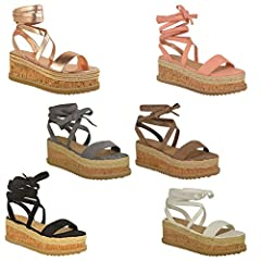 e7ca7defd76 Womens Ladies Flatform Cork Espadrille Wedge Sandals Ankle Lace Up ...