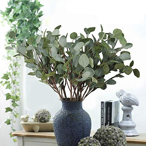 Künstliche grüne Stengel 2 Stück Silber Dollar Eukalyptus Blatt lebensechte Laub gefälschte immergrüne Zweige Zweige Anordnung Innen Büro Home Hochzeit Dekoration Tischdekoration