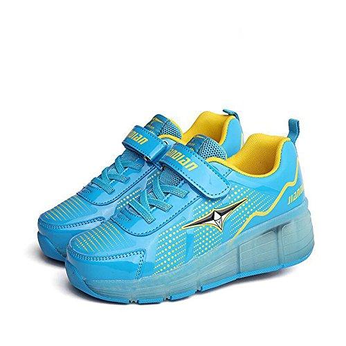 abb853ac89e2d4 ... FZUU LED leuchten Turnschuhe Single Wheel Roller Skate Schuhe Kinder  Jungen Mädchen Schuhe Blau ...