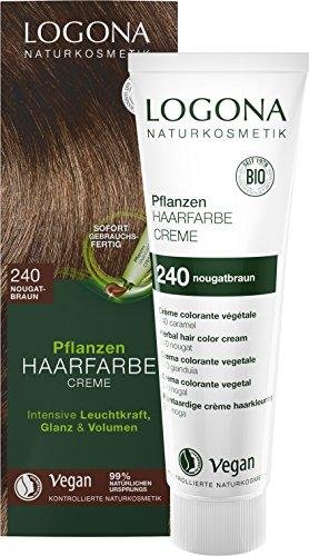 Henna-farbstoff (LOGONA Naturkosmetik Pflanzen-Haarfarbe Creme 240 Nougatbraun, Braune Natur-Haarfarbe mit Henna, Braunton Farbcreme, Coloration, 150ml)