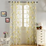Top Finel Floral Windows Net Voile Curtains for Girls Bedroom with Eyelet Ring Top, 76 x 84 Inch, Rose