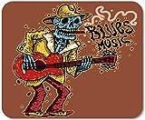 Tapis De Souris Antidérapant Tapis De Souris Bureau D'Ordinateur Rouge Guitariste Drôle Squelette Jouer De La Guitare Blues Musique Mexique Joueur De Jeu À L'École,25X30 CM