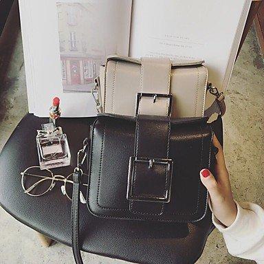 SUNNY KEY-Borsa a tracolla @ Donna Borsa a tracolla PU (Poliuretano) Per tutte le stagioni Casual Fibbia Chiusura a strappo o bottoncino A calamitaNero Grigio chiaro , light grey wine