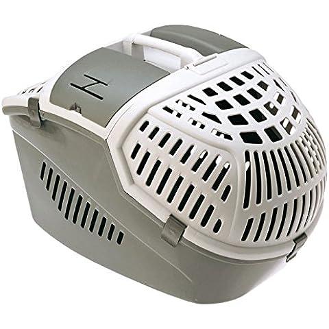 Wangado - Trasportino ergonomico in plastica, apribile del tutto, con vano accessori e cintura di sicurezza - per gatti e cani piccoli e roditori. L 57 x P 39 x H 40 cm