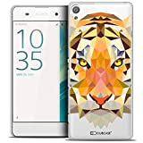 Caseink - Coque Housse Etui pour Sony Xperia XA [Crystal HD Polygon Series Animal - Rigide - Ultra Fin - Imprimé en France] - Tigre