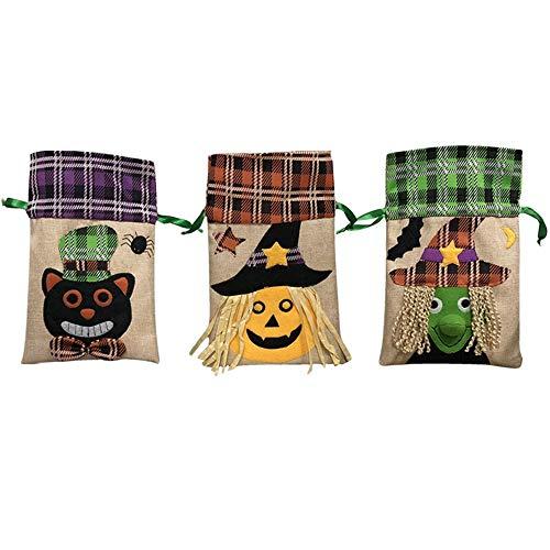 Wanlianer-Accessories 3 stücke Halloween Dekorieren Handtaschen Kinder Urlaub Süßigkeiten Taschen Hexe Kürbisse Seil Taschen Party Aufführungen - 3 Stück Plaid Kostüm