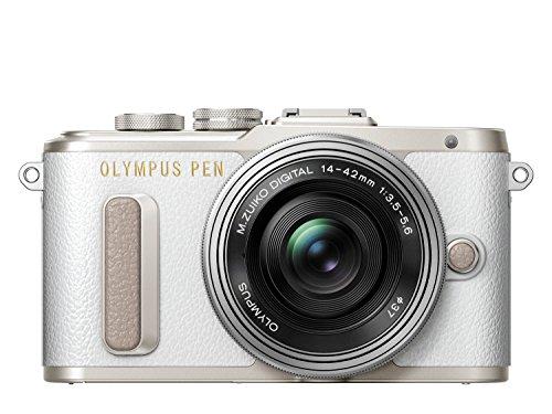 Olympus PEN E-PL8 Kompakte Systemkamera Gift-Set inklusive 3 Leder Handschlaufen (16 Megapixel, elektrischer Zoom, Full HD, 7,6 cm (3 Zoll) Display, Wifi) inkl. 14-42 mm Pancake Objektiv weiß/silber