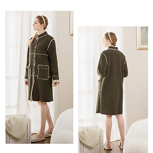 DMMSS Damen Home Service Herbst Und Winter Lammfell Pyjamas Bequem Einfache Und Elegante Stand-Up-Bademantel Green