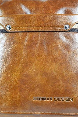 Zerimar Bolso Bandolera de Cuero para Hombre Bolso de Hombro con gran capacidad Piel suave Color marron Medidas: 27x23x10 cms.