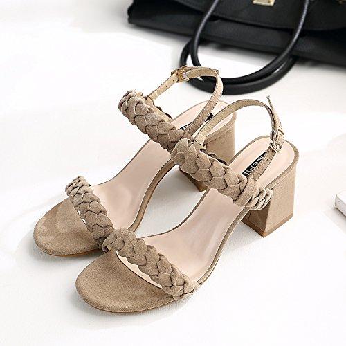 XY&GKIm Sommer mit einem Wort Schnalle Dick mit Sandalen Frauen Schnalle Leder gewebt Zehen grob Heel Sandalen, komfortabel und schön 36 Khaki