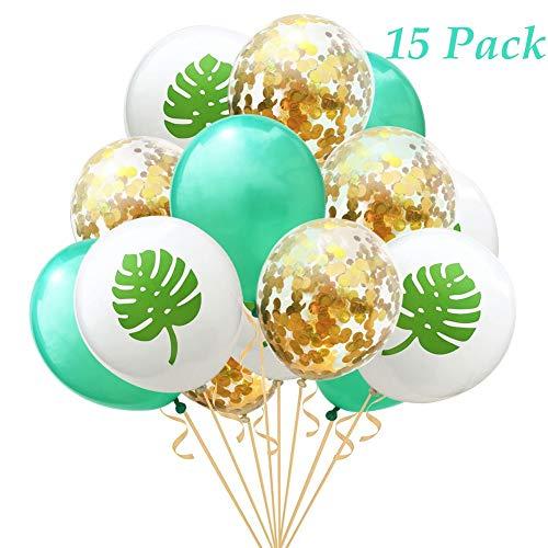 Pretty-jin 15 Stück Luftballons 12 Zoll Rosegold Ballons Flamingo Ananas Tropische Palme Blätter Ballons für Hochzeit Geburtstag Hawaii Party Decor für Helium Geeignet Goldenes Blatt