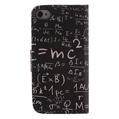 MCHSHOP(TM) Vielzahl von Mustern Book Style Design Leder Tasche Flip Case Cover Schutzhülle Etui Hülle Schale Für Apple IPhone 4 4S mit Kartensteckplätze Standfunktion - 1 Touch pen kostenlos (Interes Interessante Physik Gravitation(Interesting Physics Gr