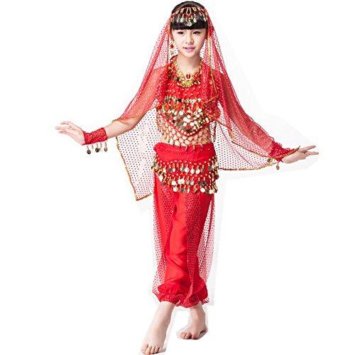 Indischer Tanz Verkauf Für Kostüm - Byjia 6 Stücke Satz Bühnenleistung Indisches Kostüm Für Kinder Bauchtanz Tragen Kindertag, Red Six Pieces, S