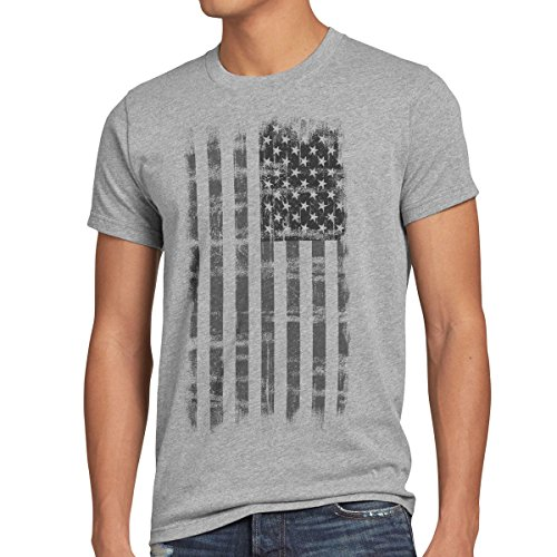 style3 USA Vintage T-shirt Herren US Stars Stripes Flagge Fahne, Größe:M;Farbe:Grau meliert (And Stars Stripes-flagge)