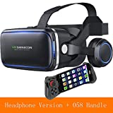 HUIJIN1 VR-Headset mit Remote Controller, Virtual Reality Headset 3D VR Goggles Gläser für 3D-Filme und Spiele kompatibel mit 4,7-6,0 Zoll,e
