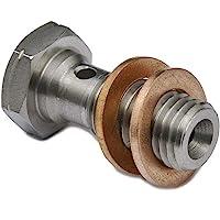 Silver, M10 x 1.25mm Motorcycle Brake Banjo Bolts M10 1.25mm 10pcs in package Banjo Bolts And Fittings Iron Banjo Bolt Gasket Sealing Washer Kit for Brake Caliper Master Cylinder