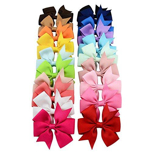 Lumanuby 20 pcs/Lot 3 Zoll Grosgrain Ribbon Bowknot Haarspangen Mädchen Bogen Pinwheel Blume Haarnadeln für Täglichen Verschleiß Oder Geburtstagsfeier, Haarklammern Serie (8 3 Ribbon-grosgrain)