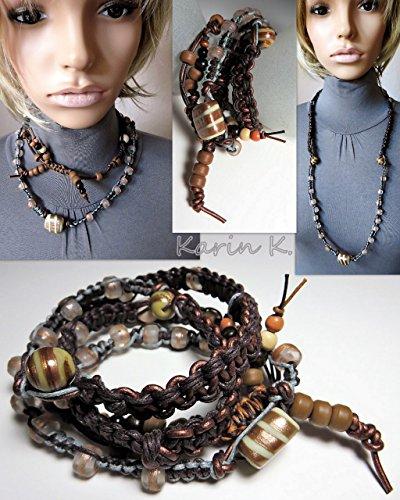 Zoll-glas-perlen 2 (Macramé / two in one / Kette oder Wickelarmband mit Glas- und Kunststoffperlen sowie Bändern in den Farben Kupferbraun, Beige, Grau, Braun und Hellbraun)