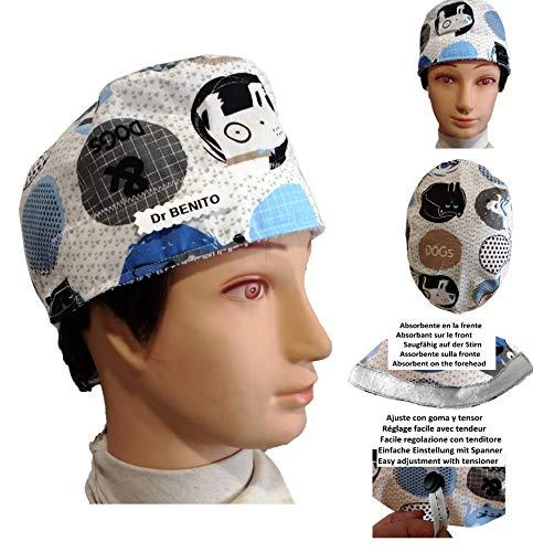 Surgical caps, Haube, kappe, Medizinische, küche, Für kurze Haare. Blaues Hundes. Mit Ihrem Namen auf freie Optionen.