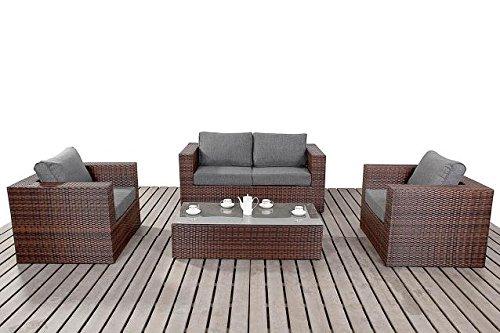 Moderne kleine Rattan Garten Sofa-Set, 2-Sitzer-Sofa mit 2Sesseln und Glas Couchtisch, Dicke Sitz-Kissen, Gartenmöbel-Sets, Braun
