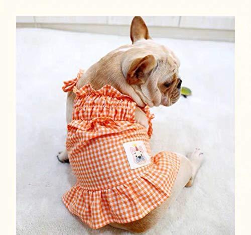 WXPC Frühling und Sommer Haustier Kleidung Hund Rock niedlichen Schatz geschwollene Prinzessin Rock Gesetz Kampf Mops kleine und mittlere Hund Orange Plaid Rock, L (Kleider Prinzessin Geschwollene)