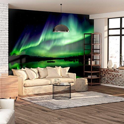 decomonkey   Fototapete Polarlicht 250x175 cm  Tapete   Wandbild XXL   Riesen Wandbild   Bild   Fototapeten   Tapeten   Wandtapete  Nordlicht Nacht Island Schwarz Grün   FOB0255b5XL