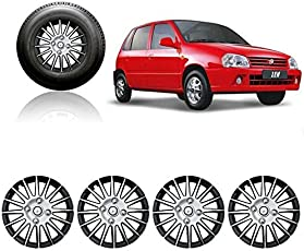 Autorepute Premium Quality Car Full Wheel Cover Caps Silver And Black 12 Inches Press Type Fitting For - Maruti Suzuki Zen