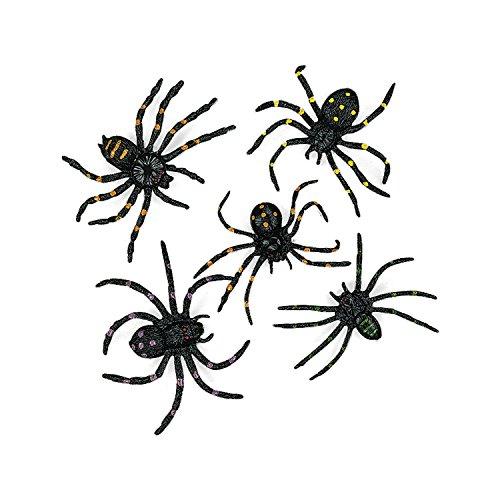 cama24com Spinnen für Halloween Deko 12 Stück Giftspinnen Horrorparty Gruselparty Palandi®