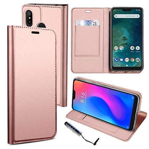 Guran® Funda de Cuero PU para Xiaomi Mi A2 Lite/Redmi 6 Pro Smartphone Flip Case Construido en TPU con Función de Soporte con Ranura para Tarjetas Estilo de Negocios Cover - or rosa