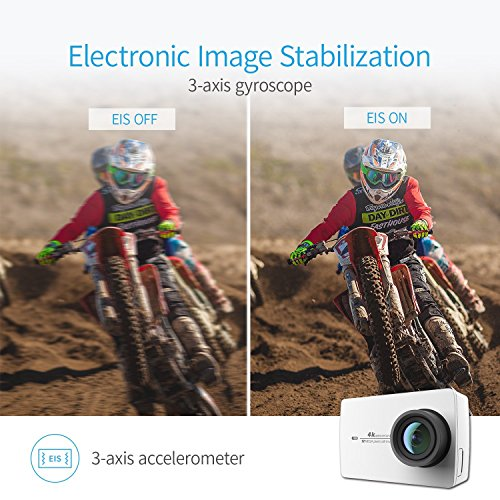 YI 4K Sports Action Camera 4K/30fps Ultra HD Wide Angle Lens 2.19 Inch Touch Screen Voice Control Camcorder (Selfie Stick set White)