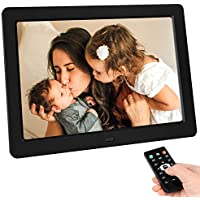 TENSWALL 10 Inch Digital Photo Frame 1280 x 800 High Resolution Full IP Display Photo / Music / Video Player Calendar Alarm Clock Automatic On/Off Timer Support USB and SD Card Remote Control