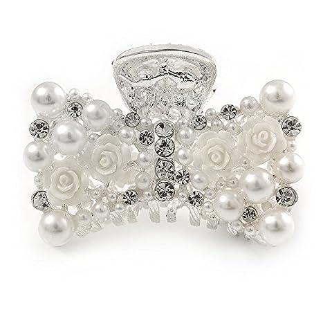 Petite de mariage/bal/mariage Fleur acrylique, fausse perle Cristal Perle Nœud papillon Griffe de cheveux en métal argenté–60mm de diamètre