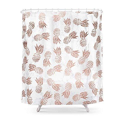 Suminla-Home Badezimmer Moderne Kunstleder Rose Gold Ananas weiß Marmor Muster Duschvorhang 182,9cm von 182,9cm