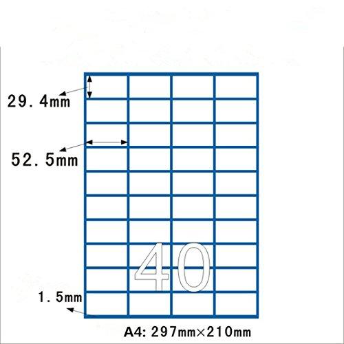 RoseFlower® Feuille A4 de 100 planches d'étiquettes, 40 étiquettes blanches adhésives (4000 étiquettes de 52.5 x 29.7 mm Convient pour Amazon FBA expédition)